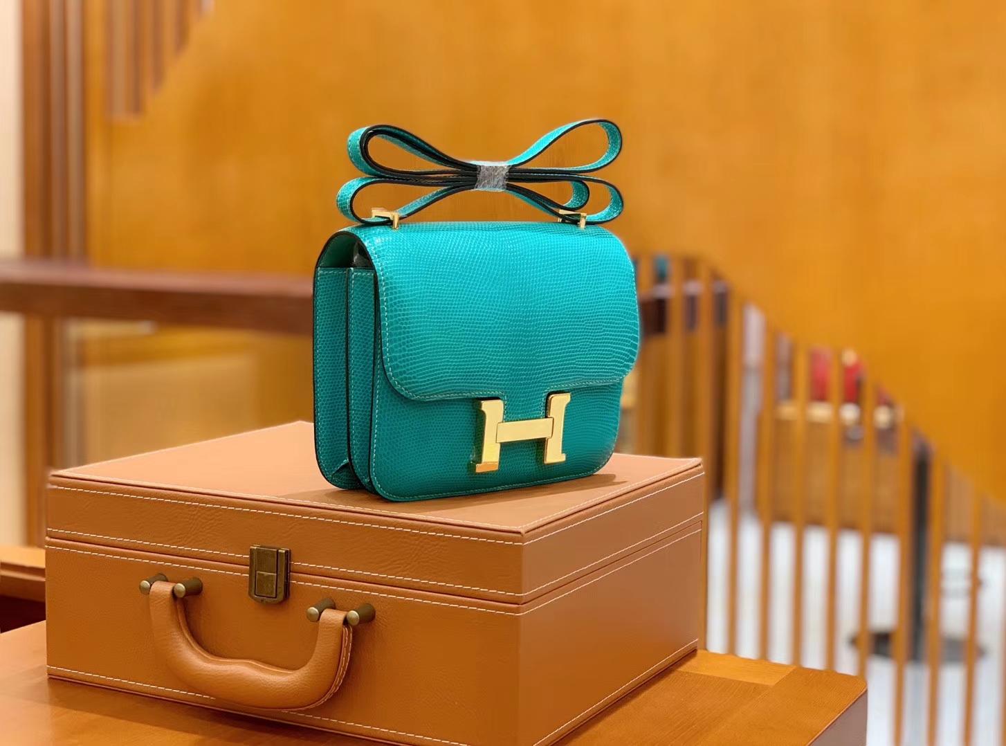 Hermès(爱马仕)Constance 空姐包 维罗纳绿 野生蜥蜴皮 全手工缝制 18cm 金扣 现货