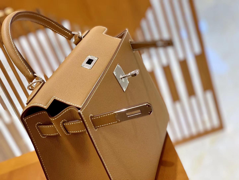 Hermès(爱马仕)Kelly 25cm 28cm 金棕色 银扣 掌纹牛皮 进口原料 臻品级别 现货