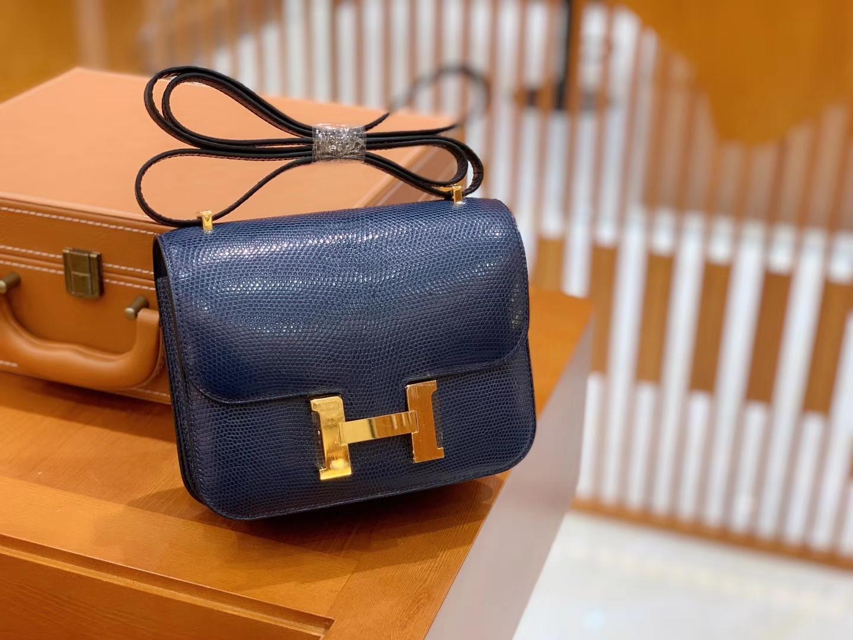 Hermès(爱马仕)Constance 空姐包 午夜蓝 野生蜥蜴皮 全手工缝制 18cm 金扣 现货