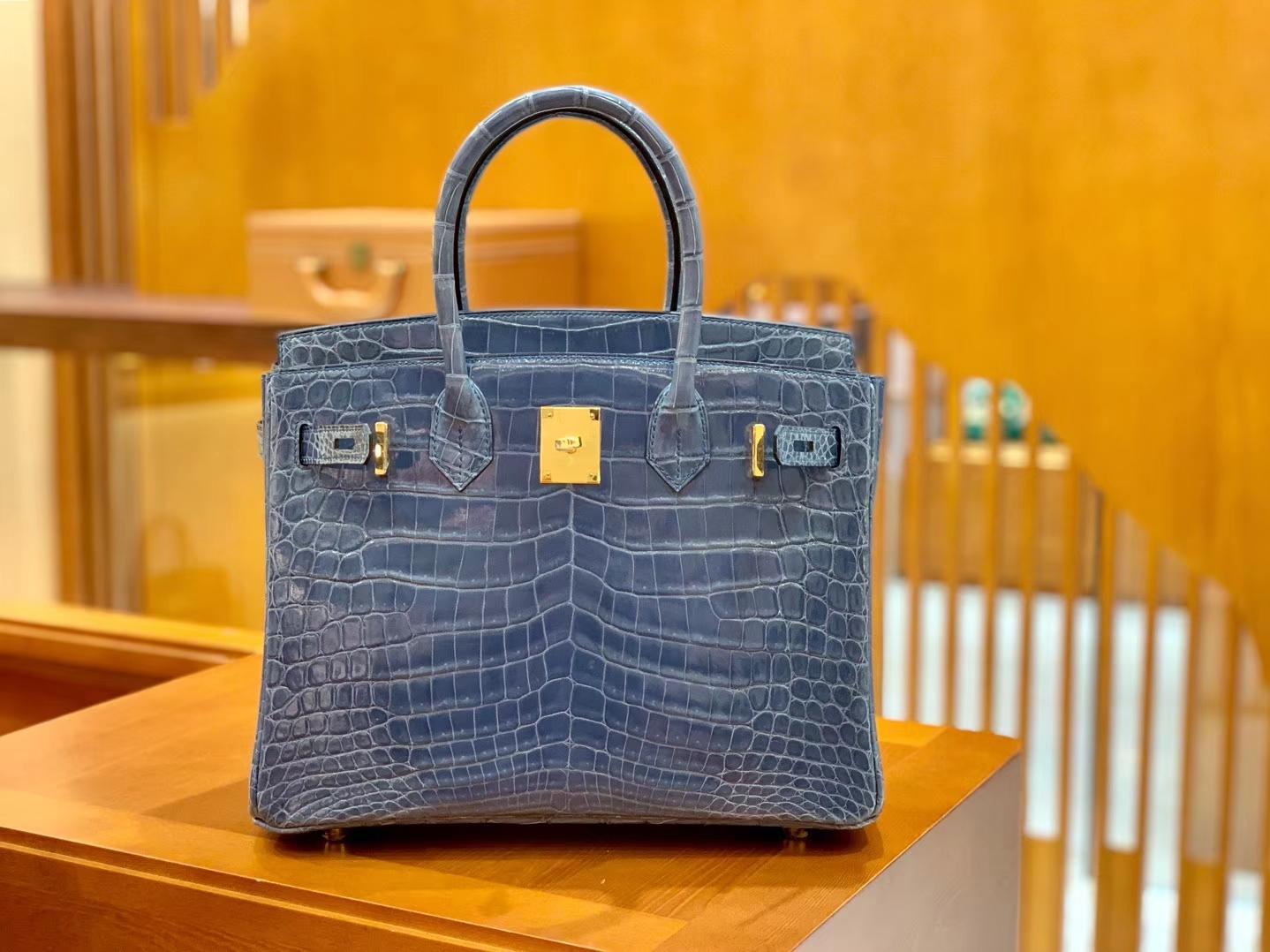 Hermès(爱马仕)Birkin 30cm 牛仔蓝 金扣 一级皮 尼罗鳄鱼皮 臻品级别