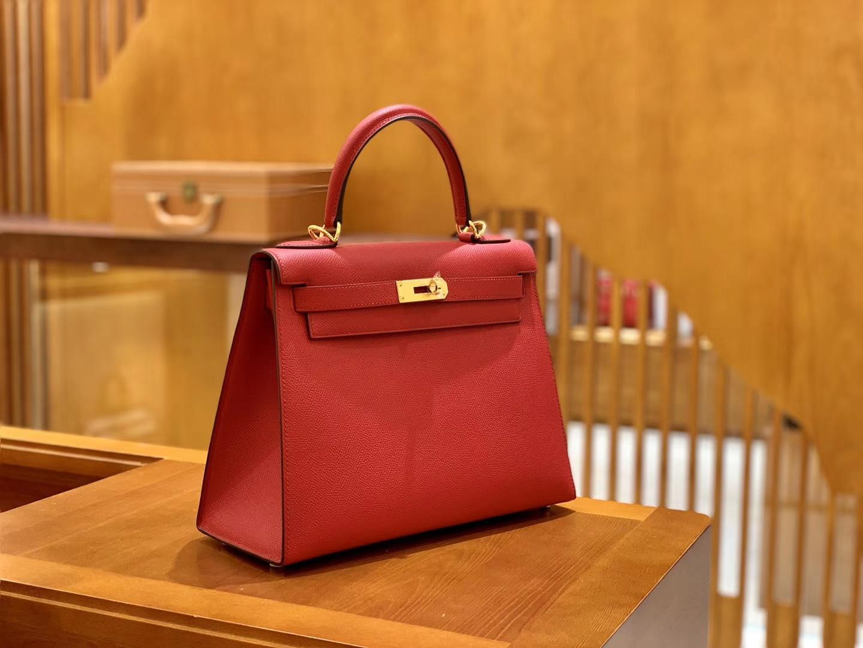 Hermès(爱马仕)Kelly 28cm 中国红 金扣 德国掌纹牛皮 全手工缝制 臻品工序