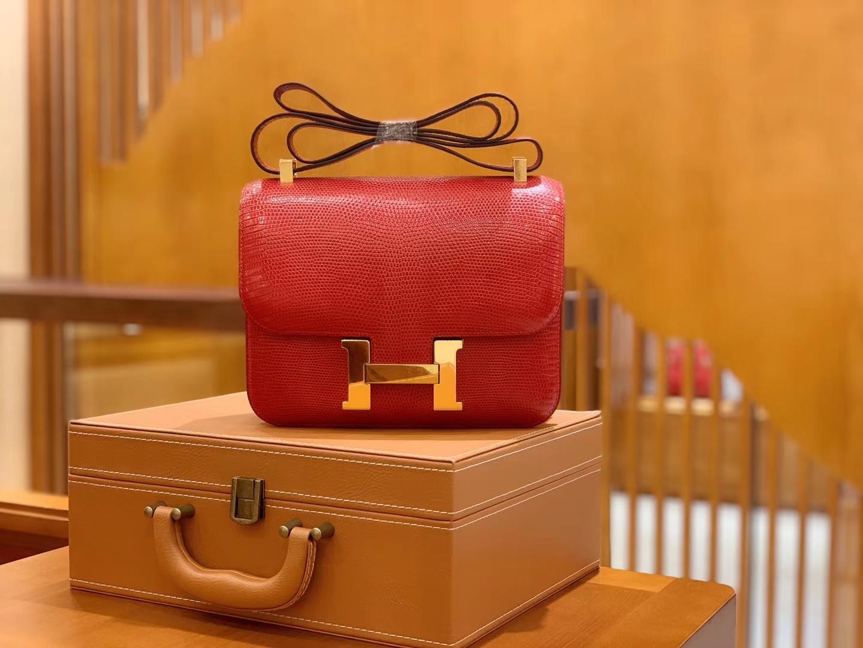 Hermès(爱马仕)Constance 空姐包 蕃茄红 野生蜥蜴皮 全手工缝制 23cm 金扣 现货