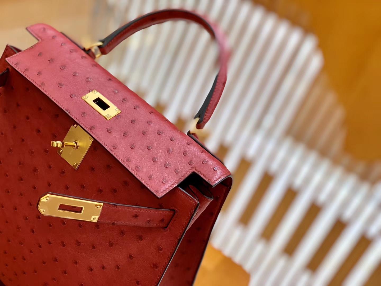 Hermès(爱马仕)Kelly 凯莉包 石榴红 鸵鸟皮 全手工缝制 金扣 28cm 现货