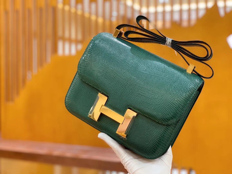 Hermès(爱马仕)Constance 空姐包 孔雀绿 野生蜥蜴皮 全手工缝制 23cm 金扣 现货