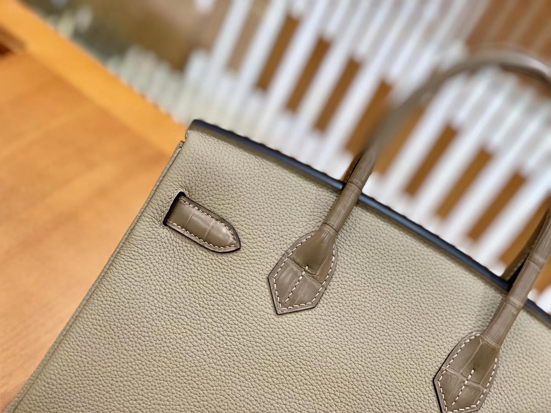 Hermès(爱马仕)Birkin 铂金包 斑鸠灰 鳄鱼皮拼德国togo牛皮 全手工缝制 金扣 30cm