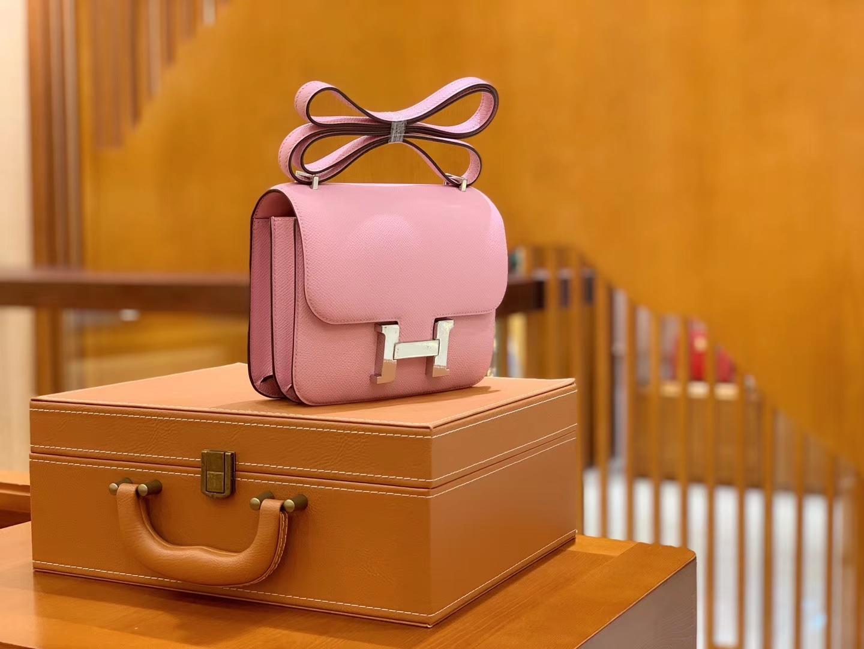 Hermès(爱马仕)Constance 空姐包 X9 锦葵紫 掌纹德国进口牛皮 全手工缝制 18cm