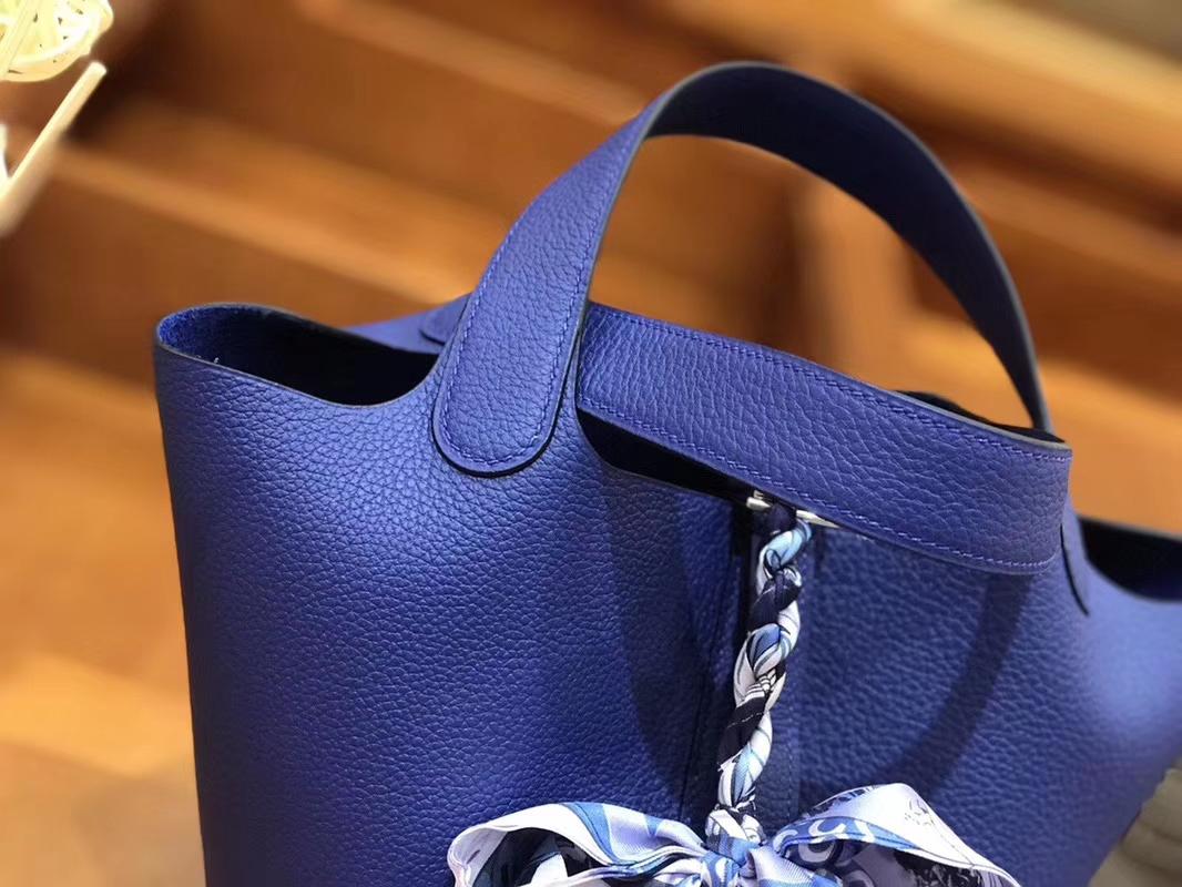Hermès(爱马仕)Picotin 菜篮包 琉璃蓝 TC大牛皮 18cm