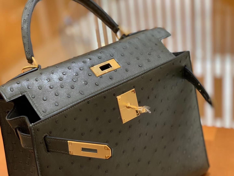 Hermès(爱马仕)Kelly 凯莉包 松柏绿 鸵鸟皮 全手工缝制 金扣 28cm 现货