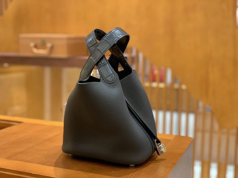 Hermès(爱马仕)Piction 18cm 经典黑 银扣 鳄鱼皮拼牛皮 全手工缝制 现货