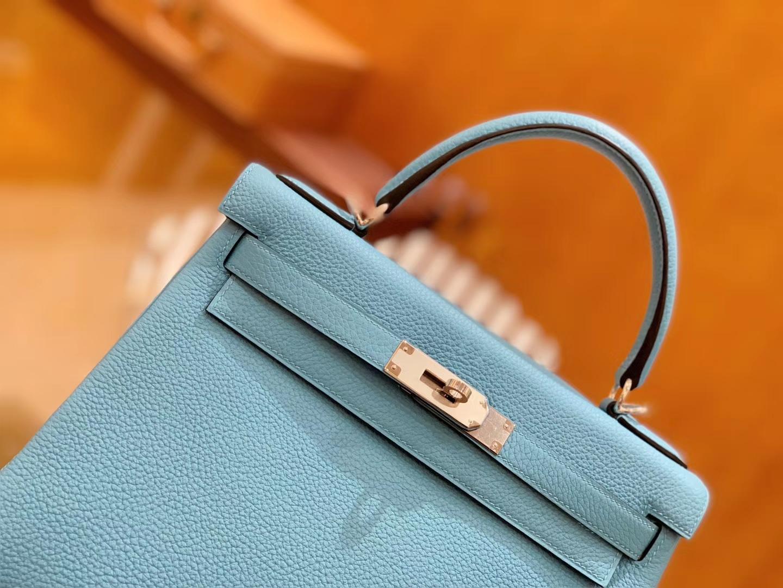 Hermès(爱马仕)Kelly 凯莉包 北方蓝 Togo德国进口牛皮 全手工 银扣 28cm 现货