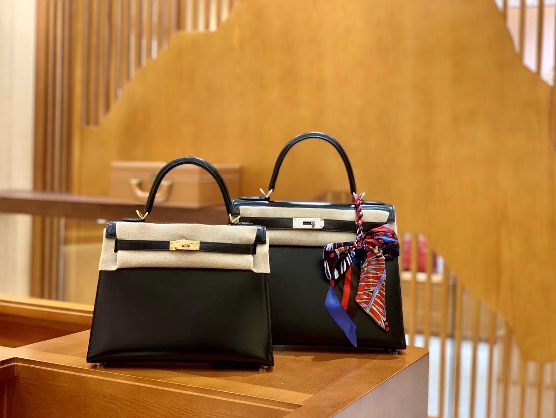 Hermès(爱马仕)Kelly 28cm 经典黑 银扣 BOX猫爪纹牛皮 全手工缝制 臻品工序