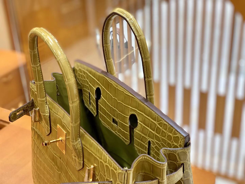 Hermès(爱马仕)Birkin 30cm 芥末绿 金扣 一级皮 尼罗鳄鱼皮 臻品级别