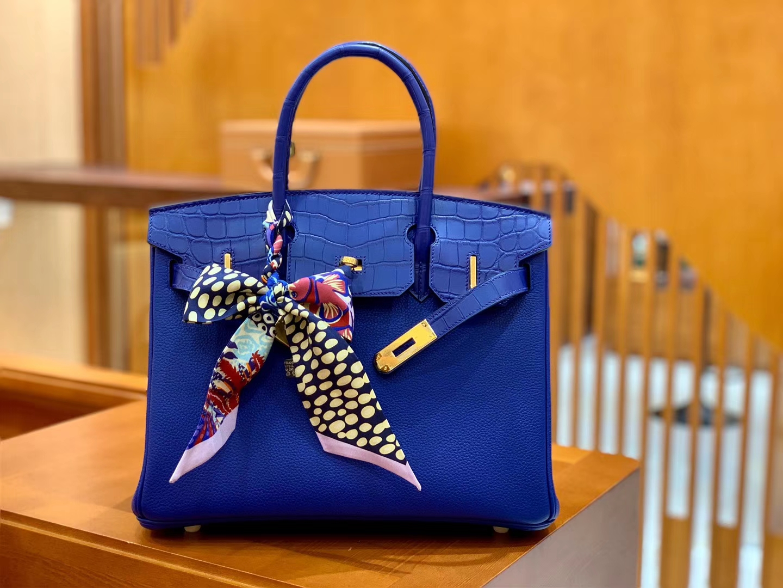 Hermès(爱马仕)Birkin 铂金包 琉璃蓝 鳄鱼皮拼德国togo牛皮 全手工缝制 金扣 30cm