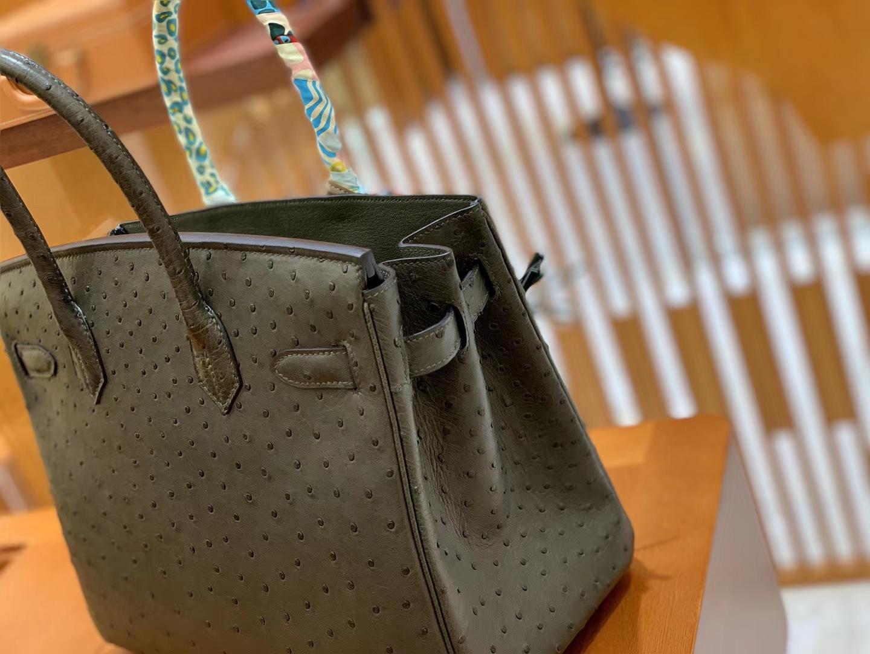 Hermès(爱马仕)Birkin 铂金包 松柏绿 鸵鸟皮 手缝工艺 银扣 30cm 现货