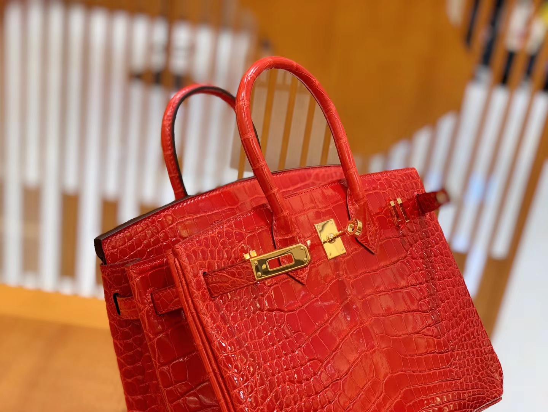 Hermès(爱马仕)Birkin 铂金包 法拉利红 美洲鳄鱼皮 品相佳 金扣 25cm