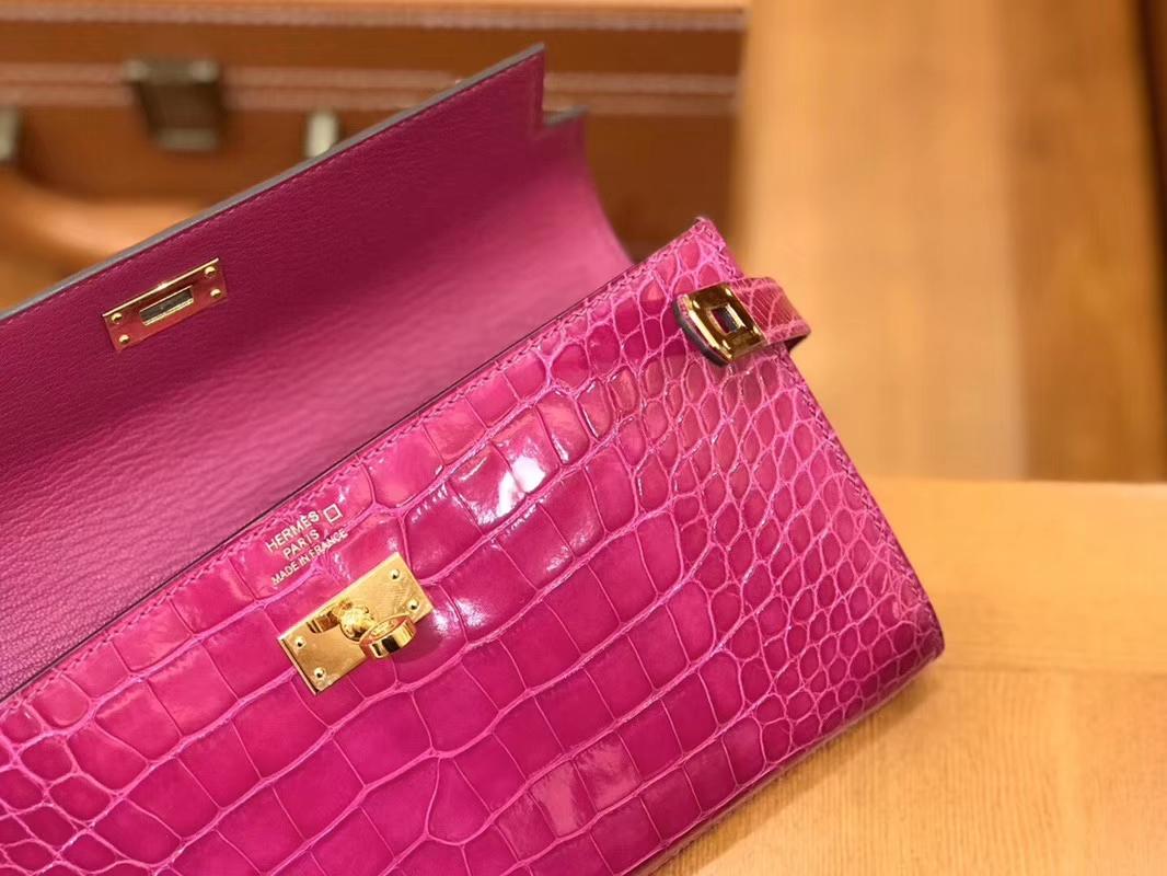 Hermès(爱马仕)Kelly 钱夹 美洲鳄鱼皮 天方夜谭紫