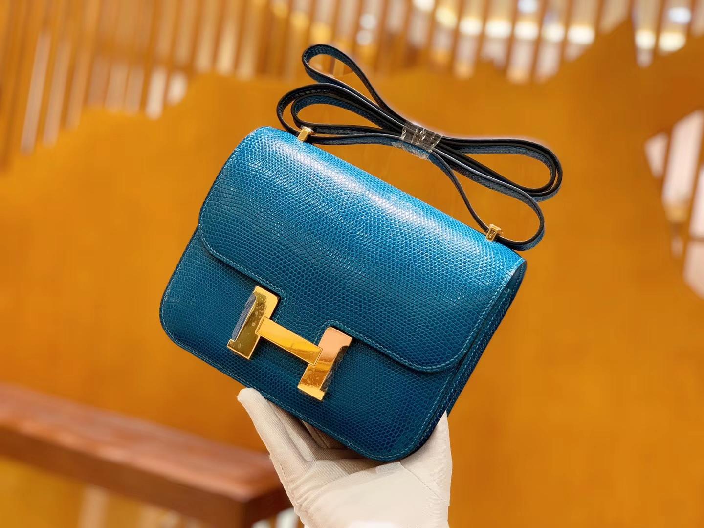 Hermès(爱马仕)Constance 空姐包 伊兹密尔蓝 野生蜥蜴皮 全手工缝制 18cm 金扣 现货