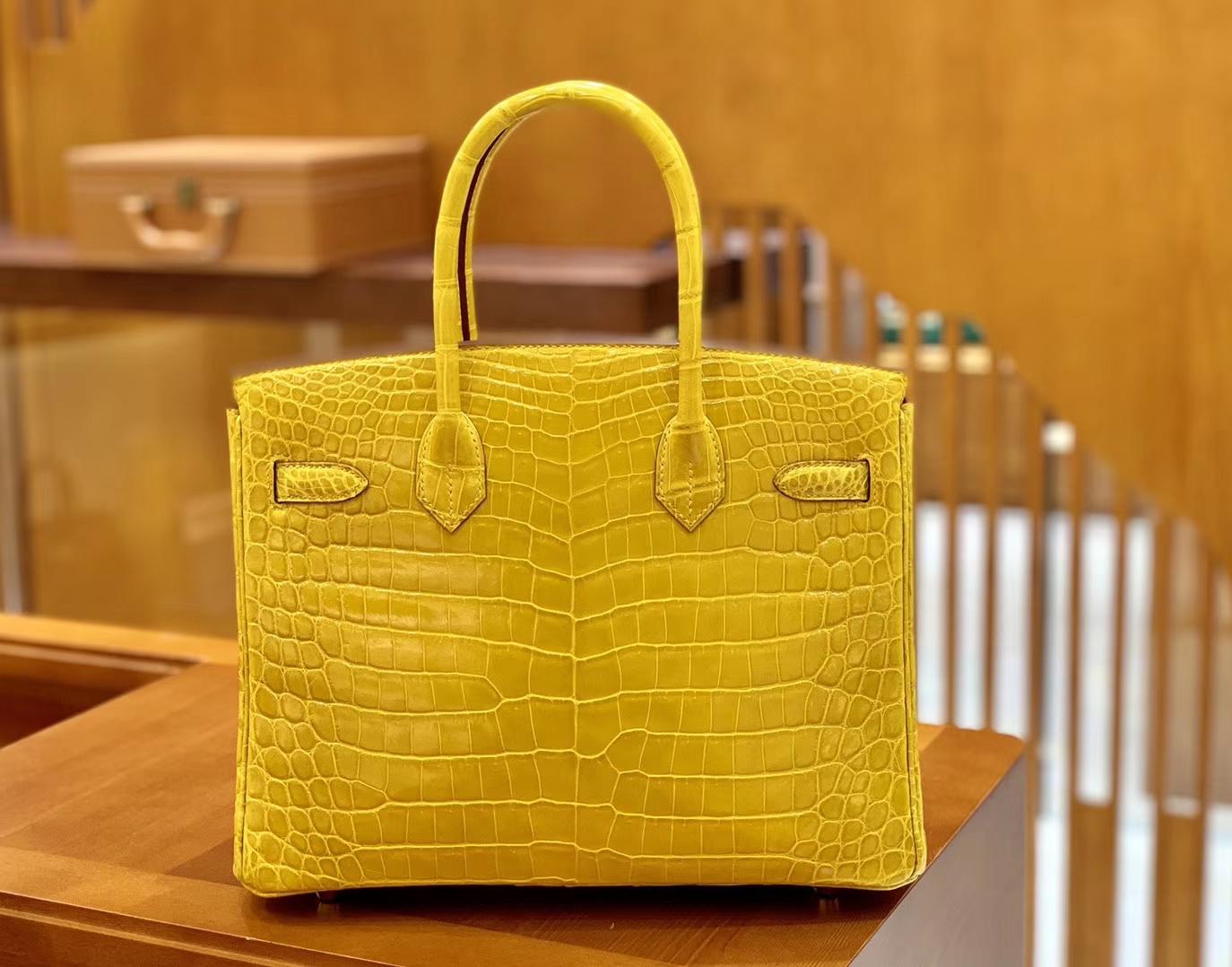 Hermès(爱马仕)Birkin 铂金包 琥珀黄 一级皮 尼罗鳄鱼皮 臻品级别 金扣 30cm