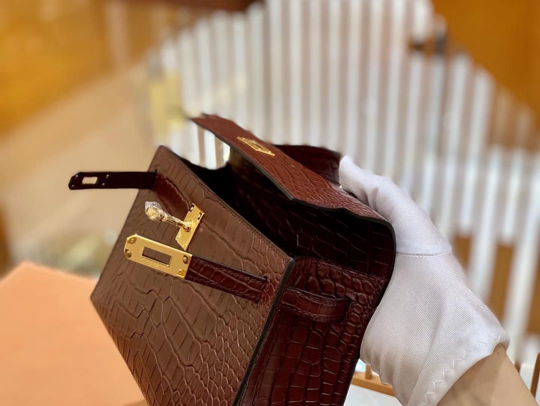 Hermès(爱马仕)Miniy Kelly 22cm 摩卡 一级尼罗 鳄鱼皮 臻品级别