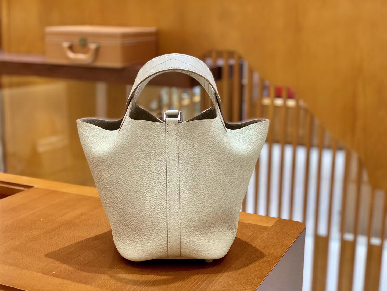 Hermès(爱马仕)Piction 18cm 奶昔白 银扣 鳄鱼皮拼牛皮 全手工缝制 现货