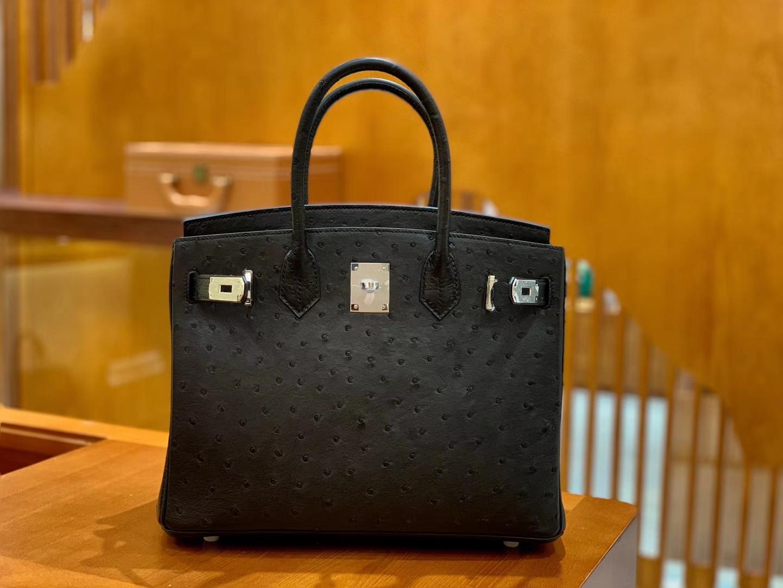 Hermès(爱马仕)Birkin 铂金包 黑色 鸵鸟皮 手缝工艺 银扣 30cm 现货