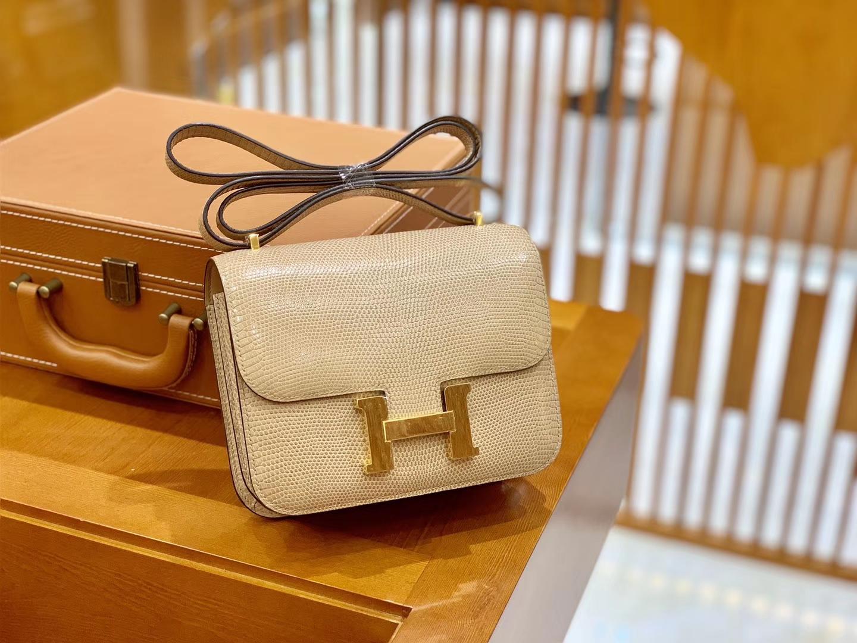 Hermès(爱马仕)Constance 空姐包 杏色 野生蜥蜴 臻品级别 金扣 18cm