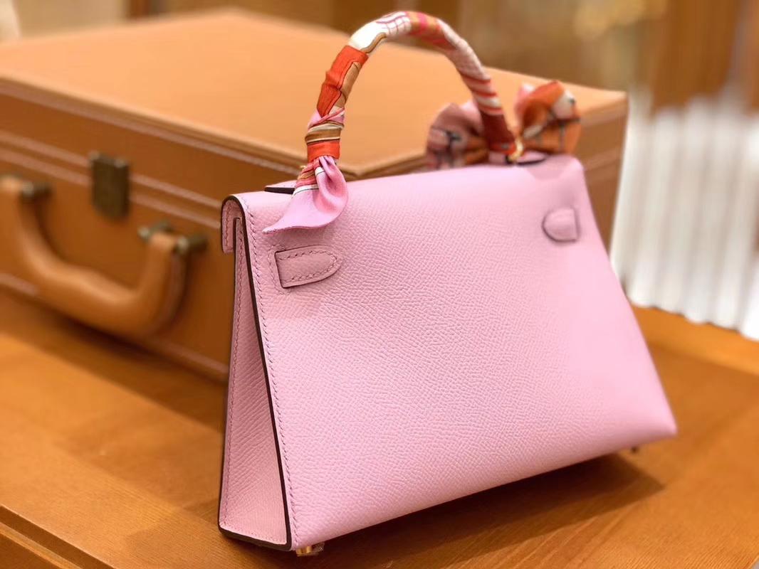 Hermès(爱马仕)Mini kelly 锦葵紫 掌纹小牛皮 全手工缝制 臻品级别 19cm 金扣 现货
