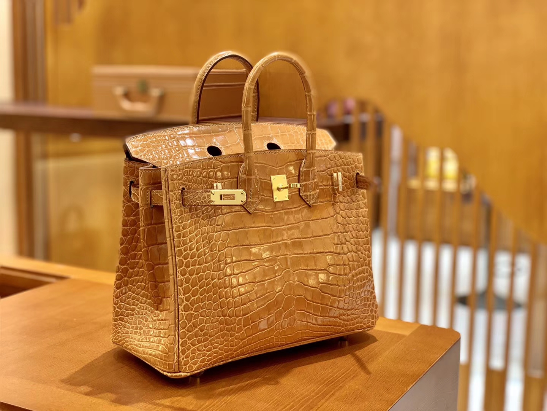 Hermès(爱马仕)Birkin 铂金包 太妃金 一级皮 美洲鳄鱼皮 臻品级别 金扣 25cm