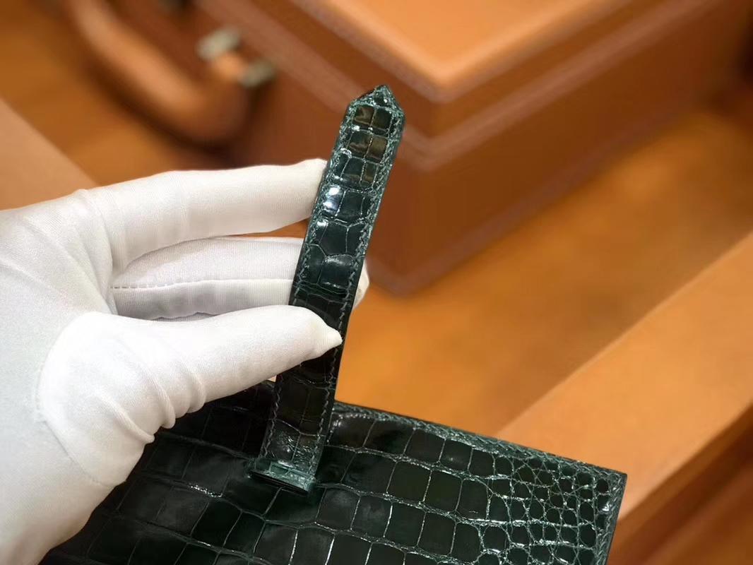 Hermès(爱马仕)Bearn 钱夹 美洲鳄鱼皮 祖母绿