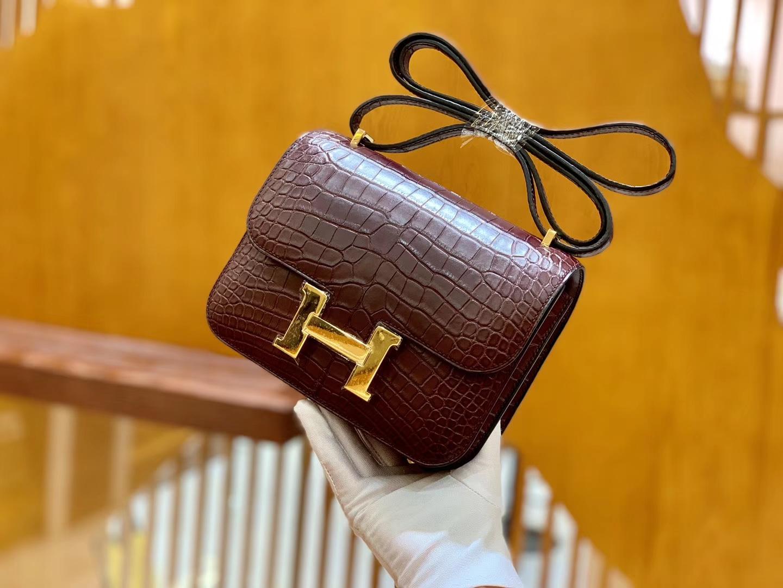 Hermès(爱马仕)Constance 空姐包 摩卡 一级美洲 鳄鱼皮 臻品级别 金扣 18cm