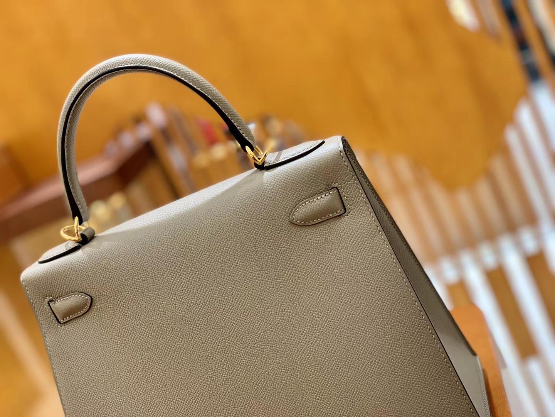 Hermès(爱马仕)Kelly 凯莉包 银河灰 掌纹牛皮德国进口原料 全手缝制 金扣 28cm 现货