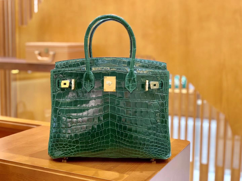 Hermès(爱马仕)Birkin 铂金包 孔雀绿 一级皮 尼罗鳄鱼皮 臻品级别 金扣 30cm
