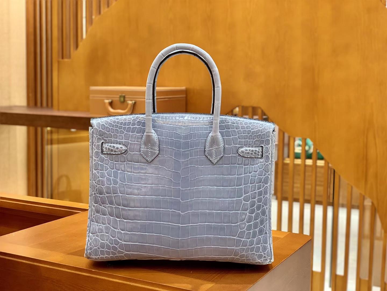 Hermès(爱马仕)Birkin 30cm 北方蓝 银扣 一级皮 尼罗鳄鱼皮 臻品级别