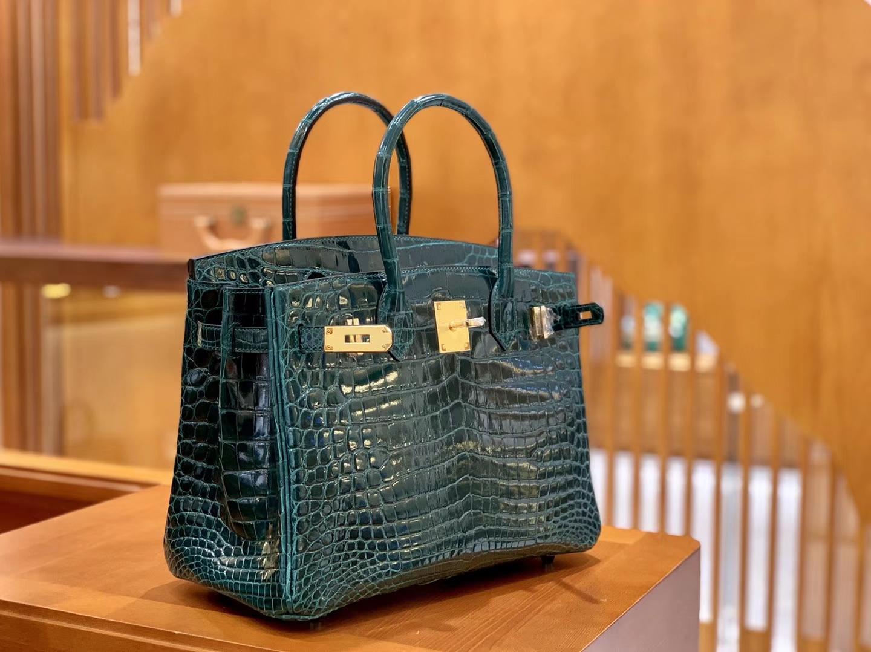 Hermès(爱马仕)Birkin 铂金包 松柏绿 一级皮 尼罗鳄鱼皮 臻品级别 金扣 30cm