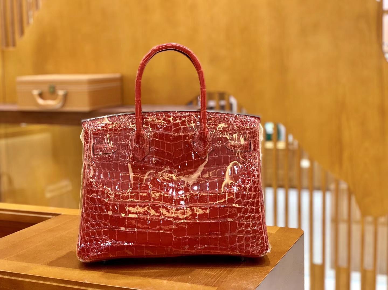 Hermès(爱马仕)Birkin 铂金包 法拉利红 一级皮 尼罗鳄鱼皮 臻品级别 金扣 30cm