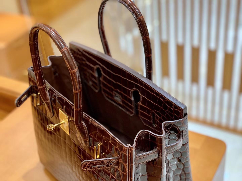 Hermès(爱马仕)Birkin 30cm 深啡色 金扣 一级皮 尼罗鳄鱼皮 臻品级别