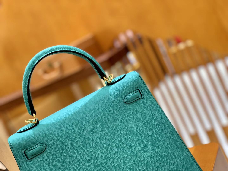 Hermès(爱马仕)Kelly 凯莉包 维罗纳绿 掌纹牛皮 进口原料 臻品级别 金扣 25cm 现货