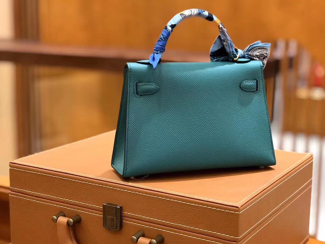 Hermès(爱马仕)Mini kelly 维罗纳绿 掌纹小牛皮 全手工缝制 臻品级别 19cm 金扣 现货