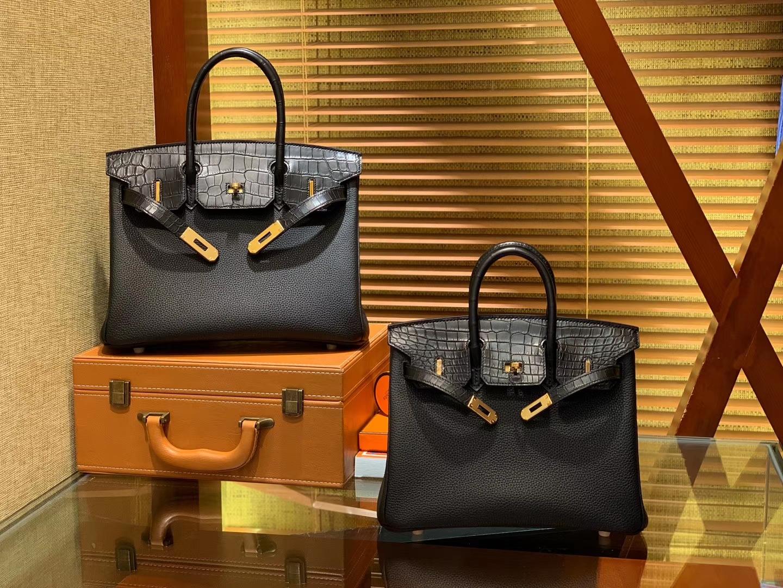 Hermès(爱马仕)Birkin 铂金包 经典黑 鳄鱼皮拼德国togo牛皮 全手工缝制 金扣 25cm