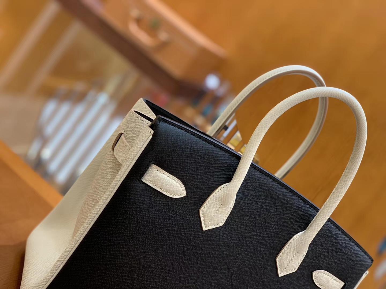 Hermès(爱马仕)Birkin 30cm 黑色拼奶昔白 金扣 Epsom掌纹牛皮 全手工缝制