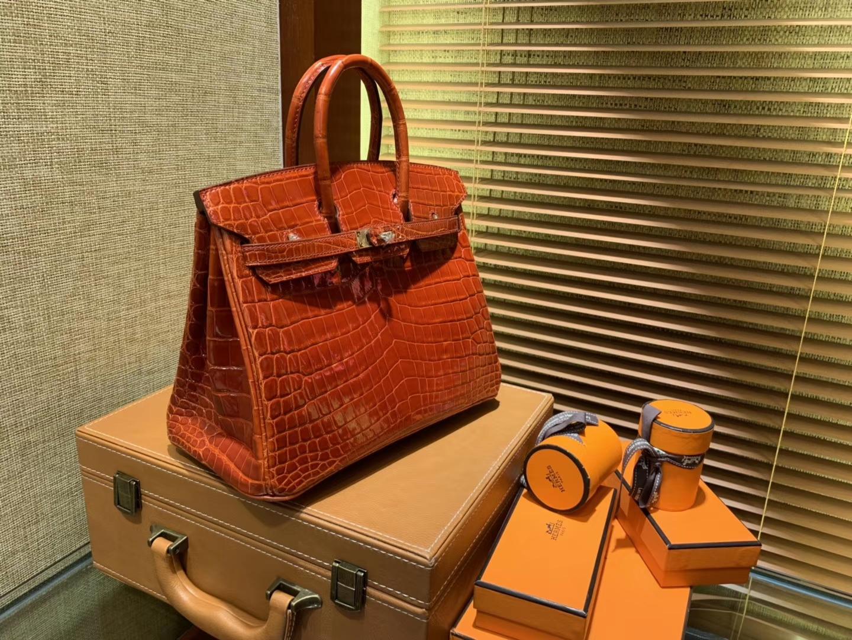 Hermès(爱马仕)Birkin 铂金包 法拉利红 亮面鳄鱼 金扣 25cm