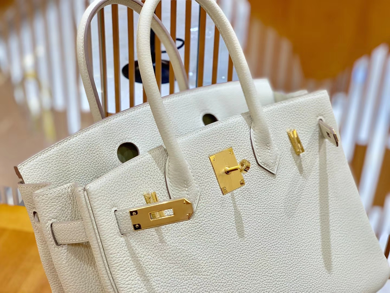 Hermès(爱马仕)Birkin 30cm 奶昔白 银扣 德国进口togo 牛皮 全手工缝制