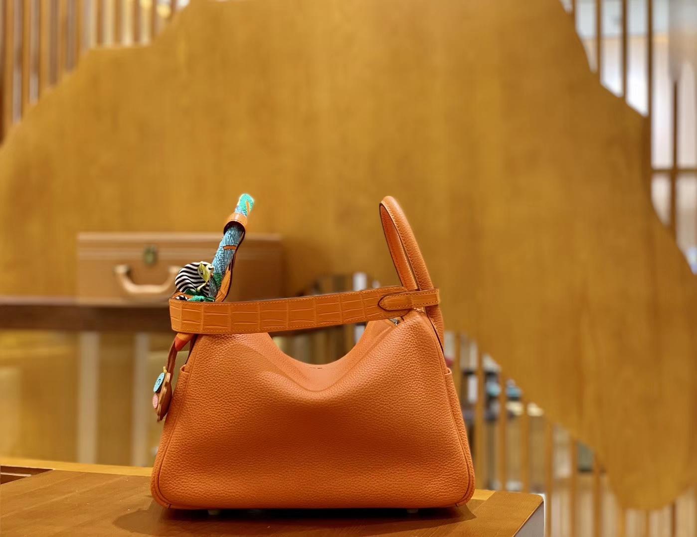 Hermès(爱马仕)Lindy 26cm 橙红色 银扣 鳄鱼皮拼togo 全手工缝制