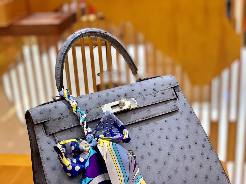 Hermès(爱马仕)Kelly 28cm 雾霾蓝 银扣 南非进口 鸵鸟皮 全手工缝制