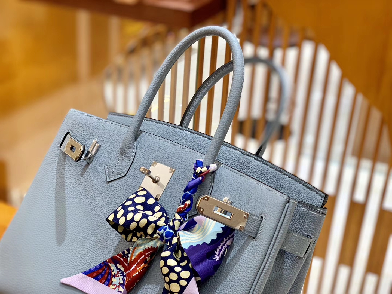 Hermès(爱马仕)Birkin 30cm 冰川蓝 银扣 德国进口togo 牛皮 全手工缝制