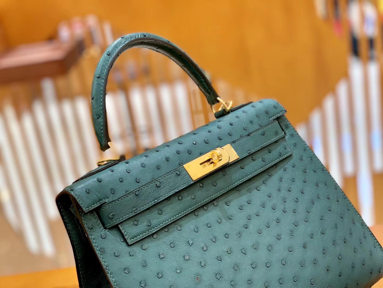 Hermès(爱马仕)Kelly 28cm 孔雀绿 金扣 南非进口 鸵鸟皮 全手工缝制