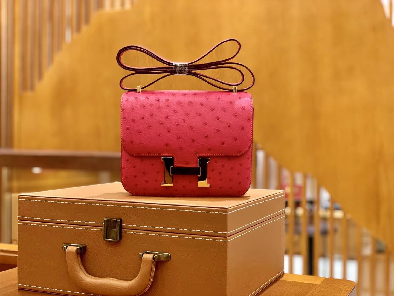 Hermès(爱马仕)Constance 18cm 玫红色 金扣 南非进口KK鸵鸟 全手工缝制