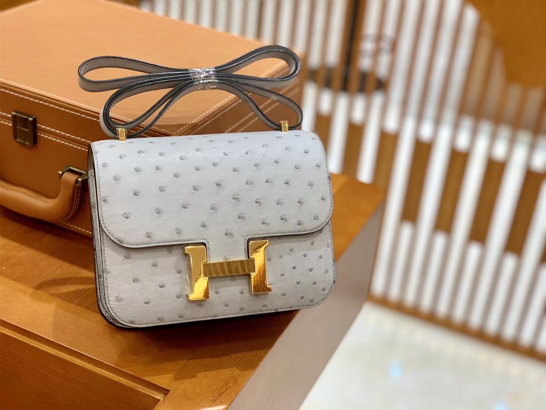 Hermès(爱马仕)Constance 18cm 海鸥灰 金扣 南非进口KK鸵鸟 全手工缝制