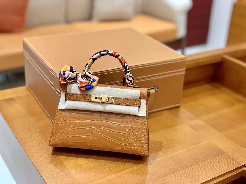 Hermès(爱马仕)Mini Kelly 美洲鳄鱼皮 哑光  臻品级别 19cm