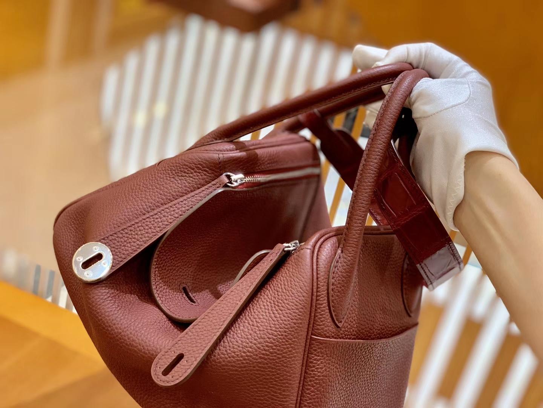 Hermès(爱马仕)Lindy 26cm 爱马仕红 银扣 鳄鱼皮拼togo 全手工缝制
